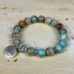 Polished Gemstone Stretch Bracelet Kit Jasper