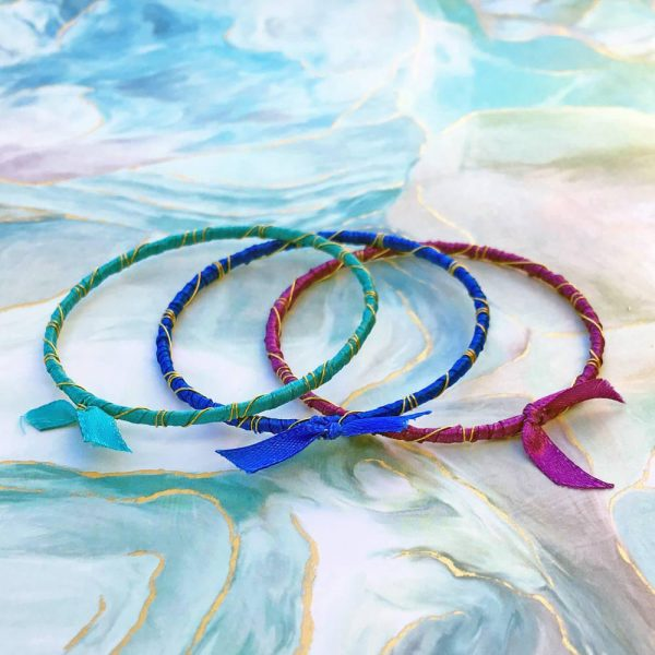 Rainbow Ribbon Wrapped Bracelets Kit Bahama Waters