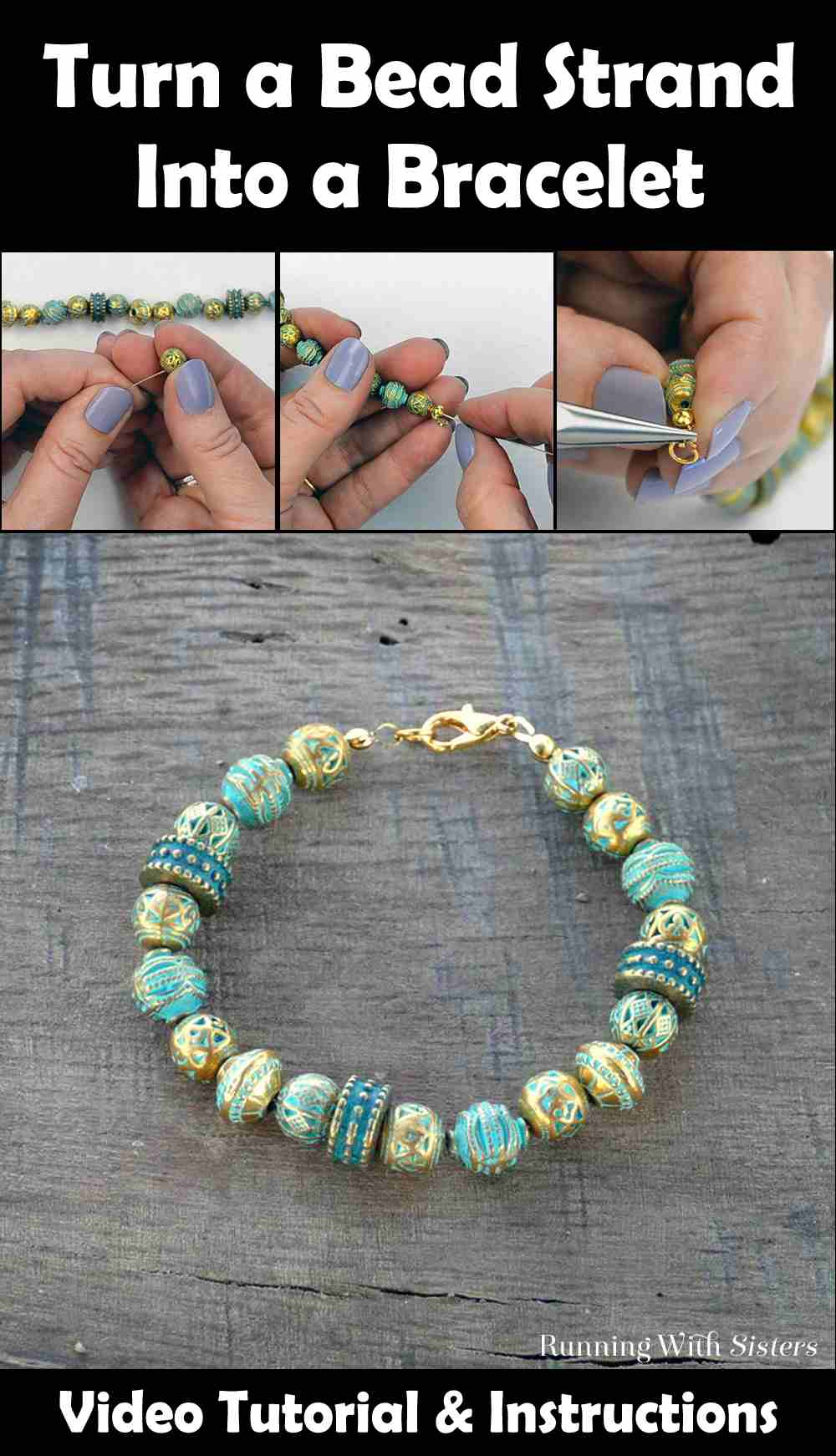 Turn A Bead Strand Into A Bracelet Pinterest