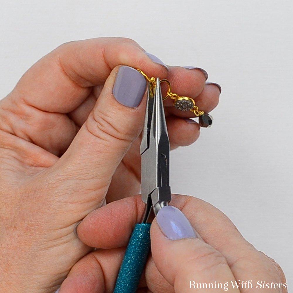 13 Druzy Drop Earrings - Use Pliers To Press Closed
