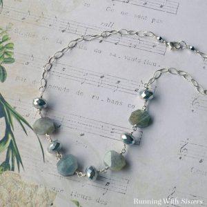 Labradorite and Silver Chunk Necklace Square