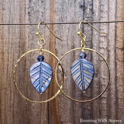 Leaf Hoop Earrings Square