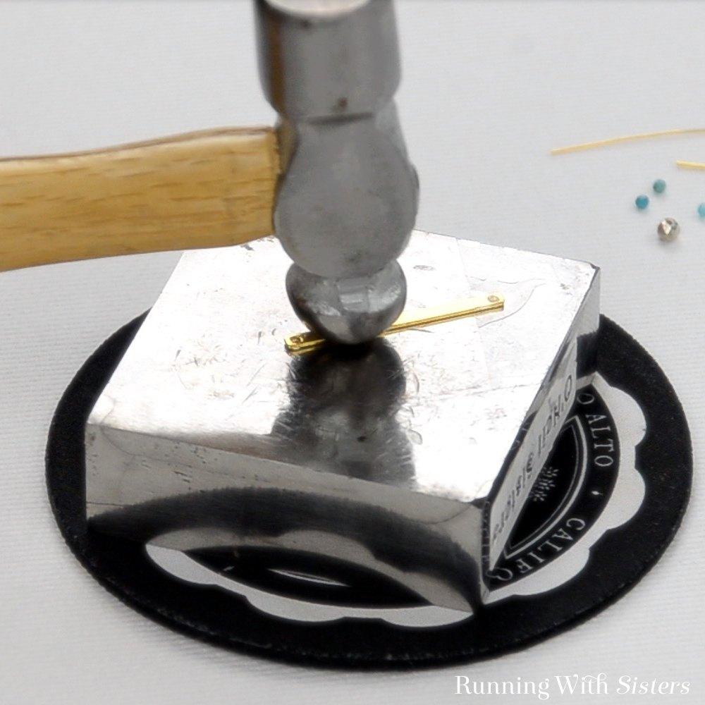 1A Hammered Beaded Bar Earrings - Hammer Texture Into Bar