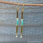 Hammered Bar Beaded Earrings Square