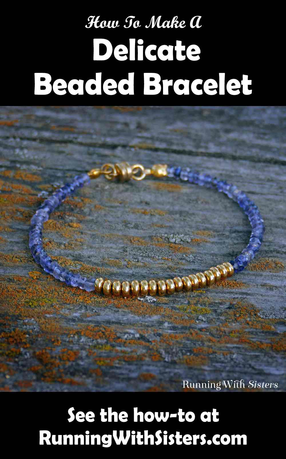 Tanzanite and Gold Delicate Beaded Bracelet