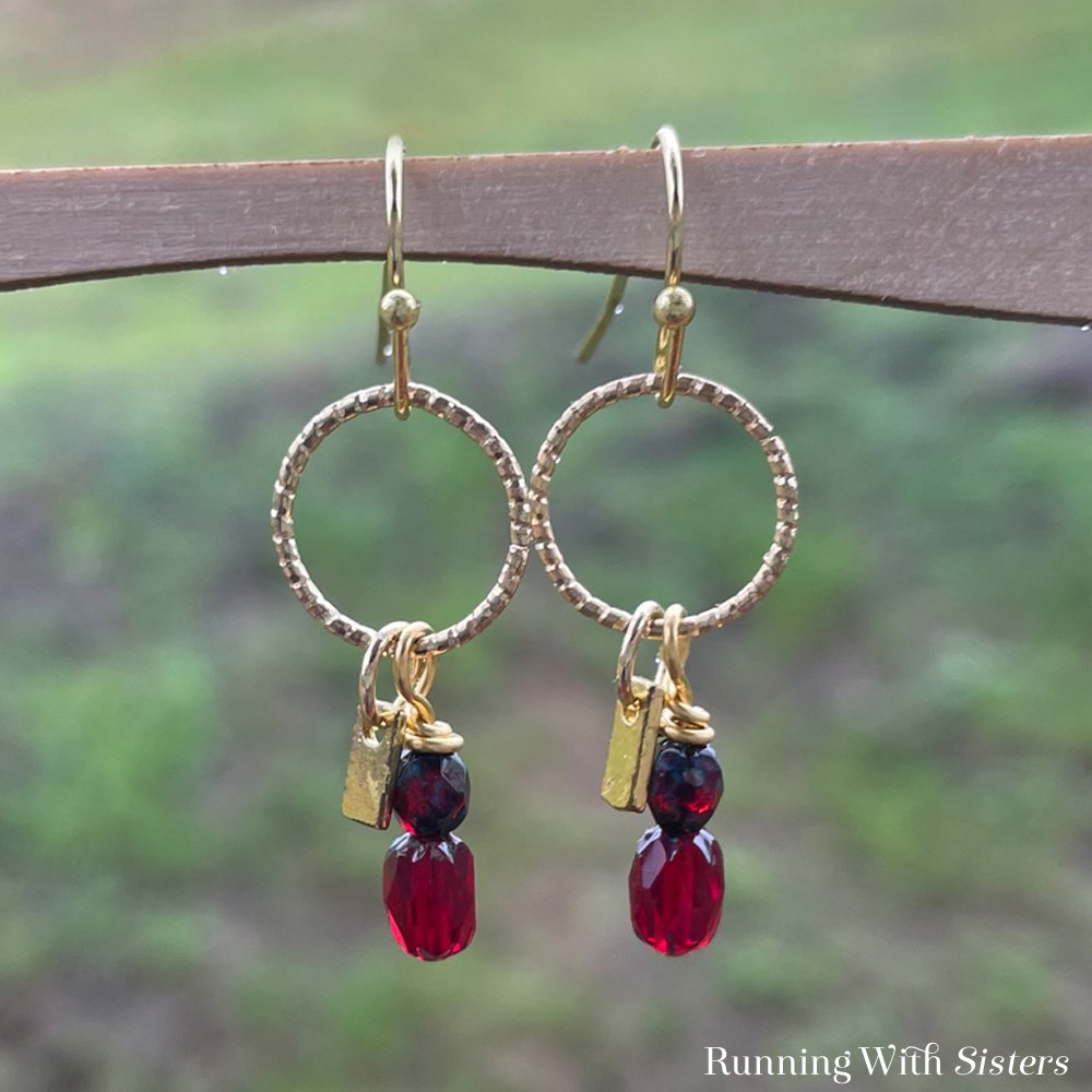 Ruby Dangle Earrings Square Green