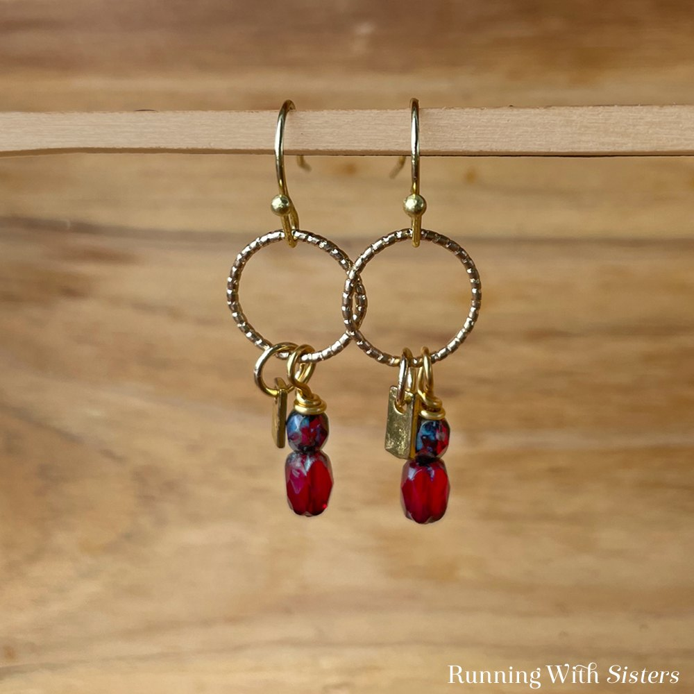 Ruby Dangle Earrings Square