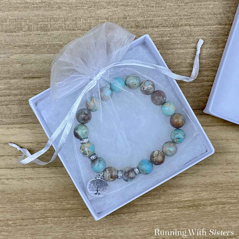 Jasper Gemstone Stretch Finished Bracelet In Bag and Box