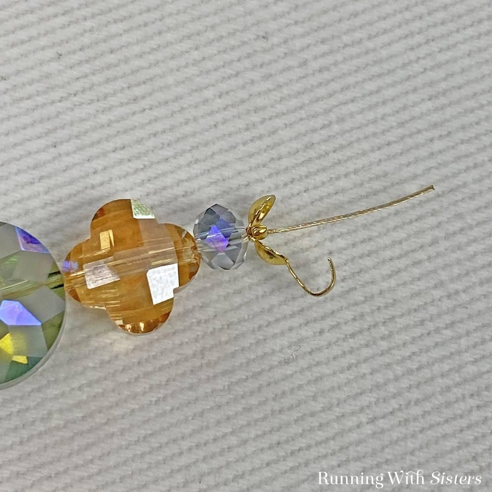 5 Faceted Crystal Beaded Bracelet - Flatten Crimp Inside Clamshell