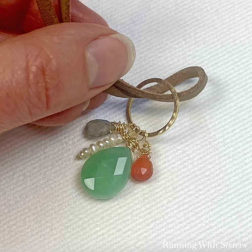 10A Wrapped Gemstones Necklace - Hang Pendant From Leather Cord
