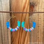 Rainbow Heishi Hoop Earrings Square
