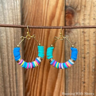 Rainbow Heishi Hoop Earrings Square