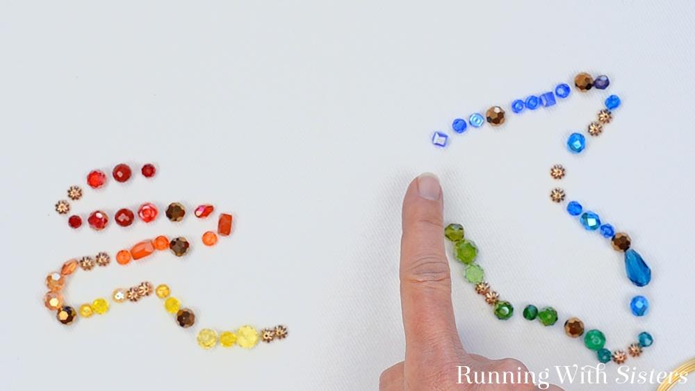 2 Rainbow Memory Wire Bracelet - Arrange Beads In Rainbow Order