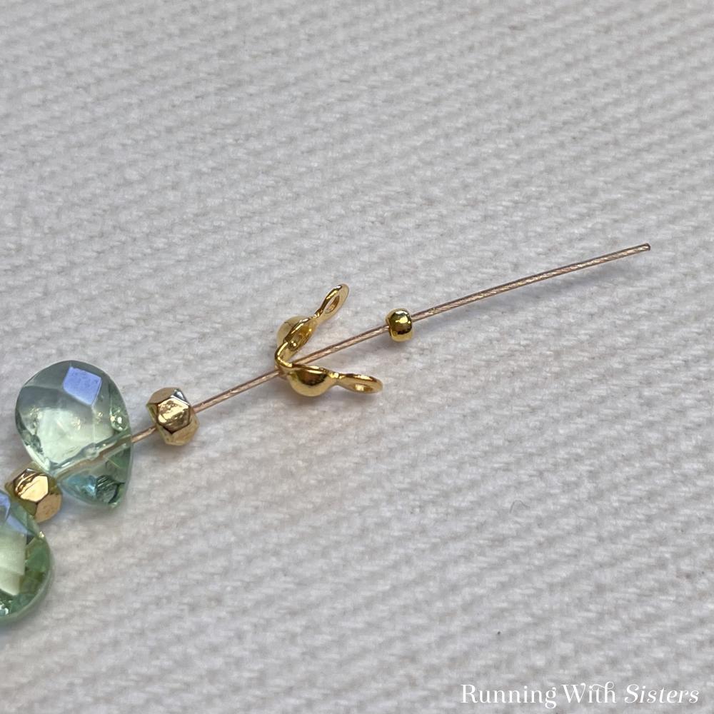 Briolette Beaded Bracelet Beads On Bead Stringing Wire Clamshell Bead Tip