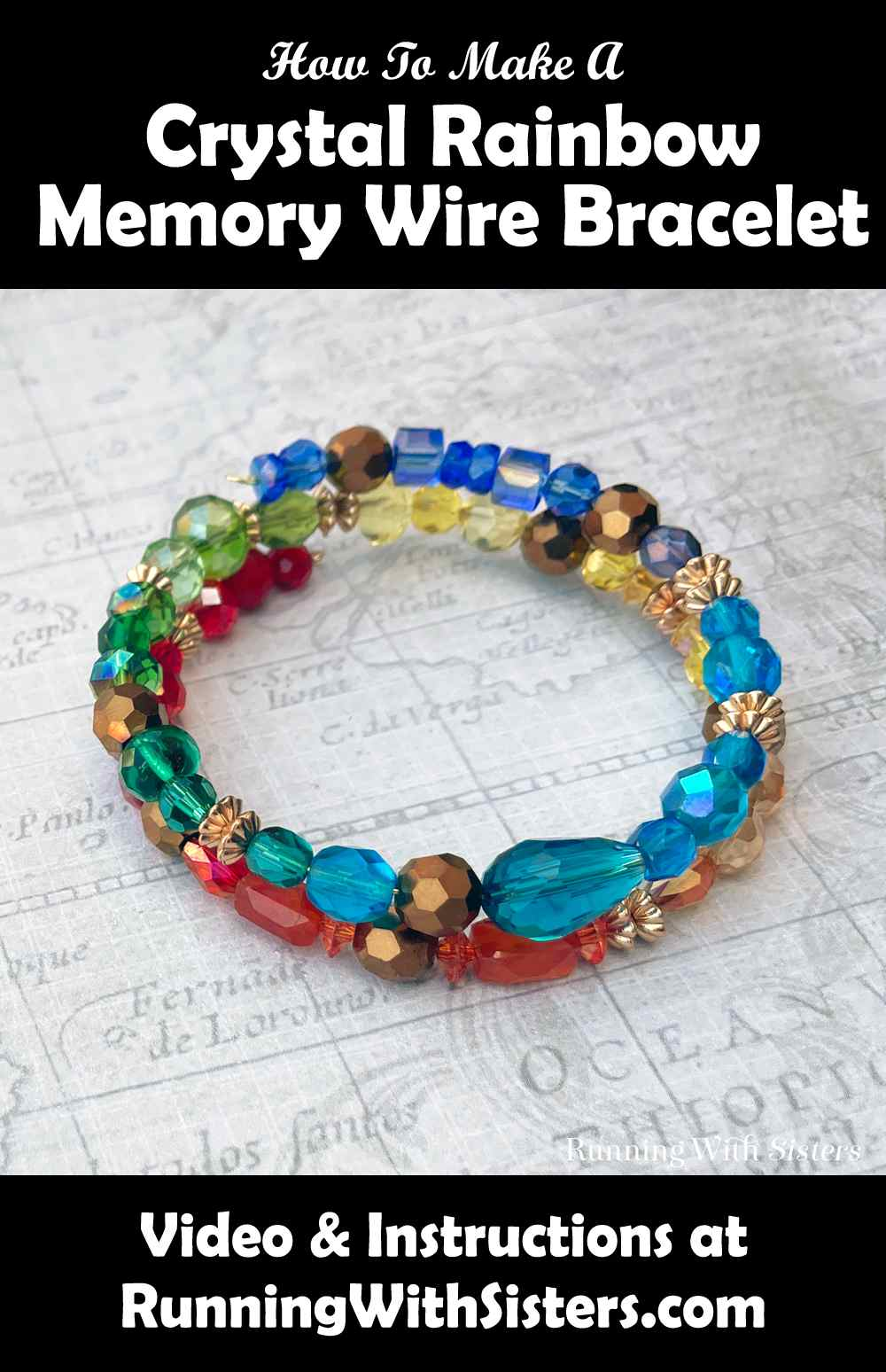 Crystal Rainbow Memory Wire Bracelet Pinterest
