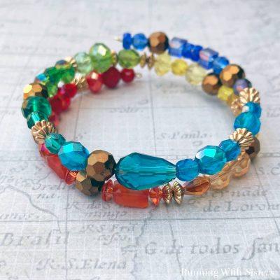 Crystal Rainbow Memory Wire Bracelet