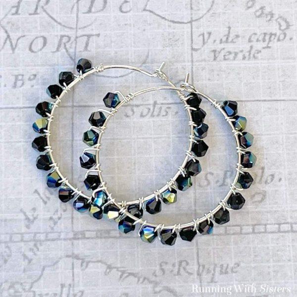 Black Crystal Wrapped Earrings