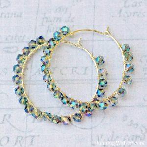 Blue Crystal Wrapped Earrings