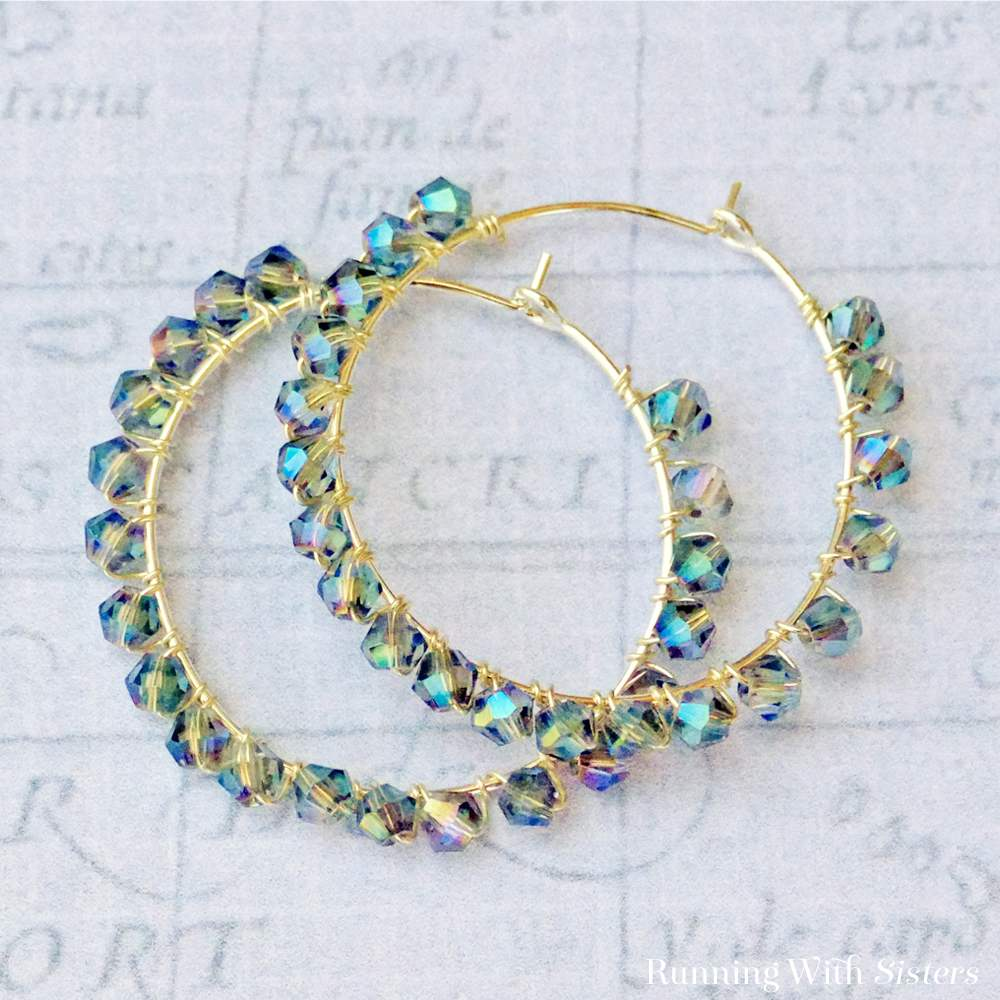 Blue Crystal Wrapped Earrings From Booklet