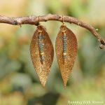 Leather Leaf Earrings Long Leaf